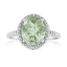 STUNNING Silver plated-Brass GREEN OVAL AMETHYST AND DIAMOND RING SIZE 7.5