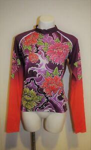 YMX Yellowman Running Cycling Jersey Purple Red Floral Long Sleeve Shirt Women L