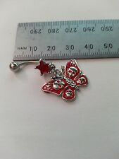 Belly Button bar Navel ring red Butterfly and skull NEW