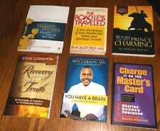 Lot of 6 Spiritual Religious, Recovery Books: Yellow Roses, Dr. Ben Carson, Peck