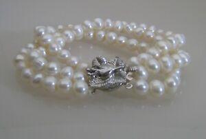 Cultured Pearl Triple Row Bracelet - White