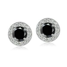 Sterling Silver 1.35ct Black Sapphire & White Topaz 5mm Halo Stud Earrings