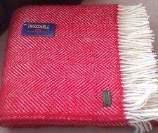 TWEEDMILL Herringbone Fishbone RED & CREAM Throw 100% Pure New Wool Blanket