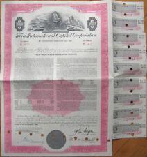 1969 Vertical Auto Bond Certificate: FORD Car International Capital Corporation