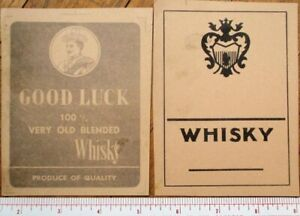 Printer's Proof 1930s TWO Bottle Labels: Scotch Whisky, Scottish Man