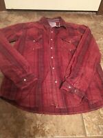 TWO HORSE BRAND LEVI STRAUSS CO MEN'S WESTERN SHIRT RED PLAID PEARL SNAPS S (88)