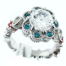 Flower Multicolor All Around Stones Silver Rhodium Plated Ring Size 7
