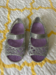 Crocs Girls Silver Open Toe Isabella Glitter Toddler Mary Jane Shoes Size 5