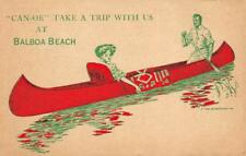 """""""Can-oe"""" Take A Trip With Us At Balboa Beach, CA c1910s Vintage Art Postcard"""