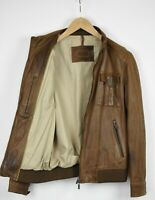 MASSIMO DUTTI Men's MEDIUM Brown Soft Leather Biker Jacket 34051-GS