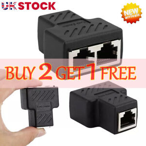 RJ45 Splitter Adapter  LAN Ethernet Cable 1 To 2 Way Dual Female Port Connector