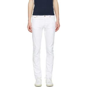 B-Ware Nudie Herren Slim Fit Destroyed Jeans | Tilted Tor Pitch White W34 L34