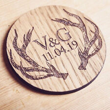 Personalised Stag Initial Coaster (Wedding, Birthday, Anniversary Gift)