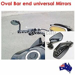 Oval CNC bar end rear view mirrors 22mm black 2015 Kawasaki Vulcan S 650 EN650