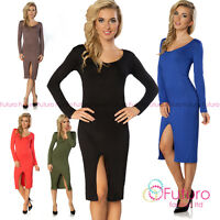 Womens Midi Dress Front Slit Long Sleeve Scoop Neck Party Tunic Sizes 8-12 8186