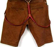 New Men's Denim Jeans Shorts Bermudas Stretch Suspenders brown Plus size 3XL