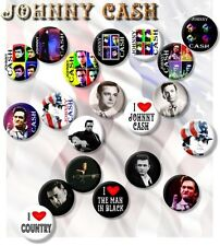 """JOHNNY CASH/ THE MAN IN BLACK/ COUNTRY LEGEND TRIBUTE 25 MM/ 1 """" BADGE- STUNNING"""