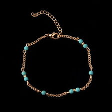 Nice Turquoise Beads Gold Chain Anklet / Ankle Bracelet Foot Jewellery