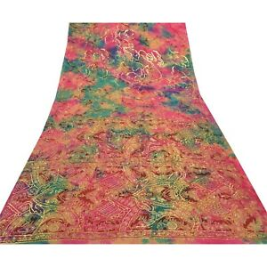Sanskriti Vintage Pink Sarees Pure Silk Hand Beaded Sari 5 Yard Craft Fabric