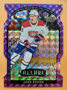 Jake Evans 2020-21 UD Allure Purple Diamond SSP 05/10 RC + 5 Card Lot Rookie