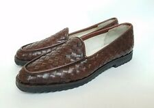 Sesto Meucci Brown Woven Italian Leather Women's Loafers - Vintage - Never Worn