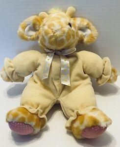 RUSS BERRIE Kiddy Kuddlers Yellow Giraffe Rattle Baby Plush Stuffed Animal