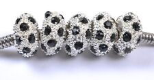 Crystal Rhinestones Pave Silver Rondelle Spacer Beads Fit European Charm