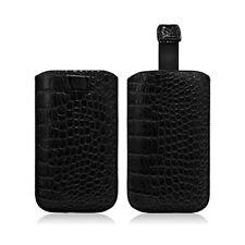 Housse Coque Etui Pochette Style Croco Couleur Noir pour Samsung Galaxy S4 Mini