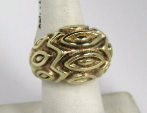 VicenzaSilver Sterling Bold Satin Marquise Pattern Domed Ring Sz 7