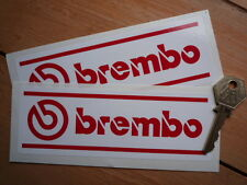 "BREMBO Red & White Race Car STICKERS 6"" Pair Rally Motorsport WSB F1 Bike Racing"