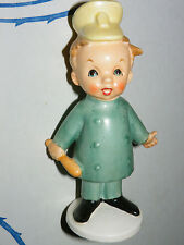 ADORABLE VINTAGE CERAMIC BOY in Blue Cop Policeman Uniform Club and Hat w Badge