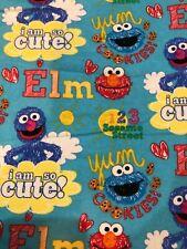 20011 Sesame Street Flannel Fabric Elmo Cookie Monster Grover OOP Yum 123 Cute