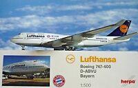 Herpa Wings 1:500 Boeing 747-400 Lufthansa D-ABVU Bayern 528306 Modellairport500