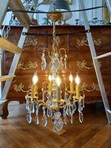Lustre ancien bronze doré et pampilles cristal, 6 branches [RESTAURÉ]
