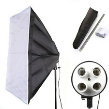 E27 4 PRESA Foto LUCE LAMPADINA STAFFA SUPPORTO + 50cm 70CM STUDIO softbox kit