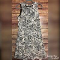 Dress Barn Black & White Sleeveless Tiered Women's Dress Size 10