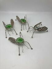 Lot Of 4 Metal Decorative Flies 3 Green Stone , 1 Clear Stone