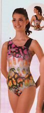 NWT Axis Gymnastic Dance Leotard Asymmetrical Foil Multi Color Girls large child