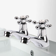 2 Taps Twin Hot and Cold Pair Tap Traditional Bath Bathroom Basin & Sink Chrome