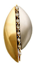 Designer 14K White and Yellow Gold Diamond Brooch by Misha Signed