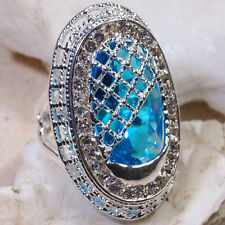 "15CT London Blue Topaz Victorian Style Silver Huge Ring 1.5"" Long Size 7 GR343"