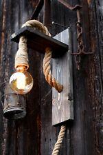 RUSTIC Vintage hemp Rope  lamp Handmade Farmhouse light decor wood