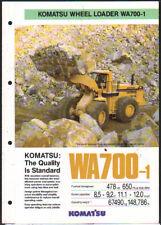 """Komatsu """"WA700-1"""" Wheel Loader Shovel Brochure Leaflet"""