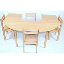 kids beech wood half circle table stacking chairs classroom pre school Table