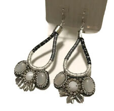 Topshop Earrings Statement New With Tags Rhinestones Boho Chic Grey Dangle