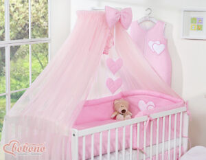 NEW BIG PINK DRAPE CANOPY NET / MOSQUITO NET +/- HOLDER ROD FIT BABY COT COT BED