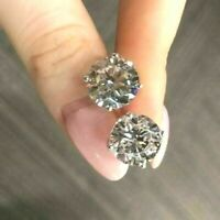 4Ct Round Cut Sparkle Moissanite Stud Push Back Earrings 14K White Gold Finish