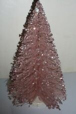 """VINTAGE PINK GLITTER BOTTLE BRUSH CHRISTMAS TREE 9"""" EXCELLENT USED CONDITION"""