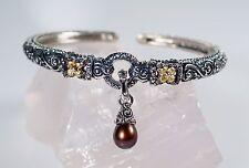 Barbara Bixby Sterling Silver 18K Gold Charm Hinged Cuff Bracelet Pearl