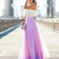 Women Lace Chiffon Evening Formal Party Ball Gown Prom Brides Long Maxi Dress